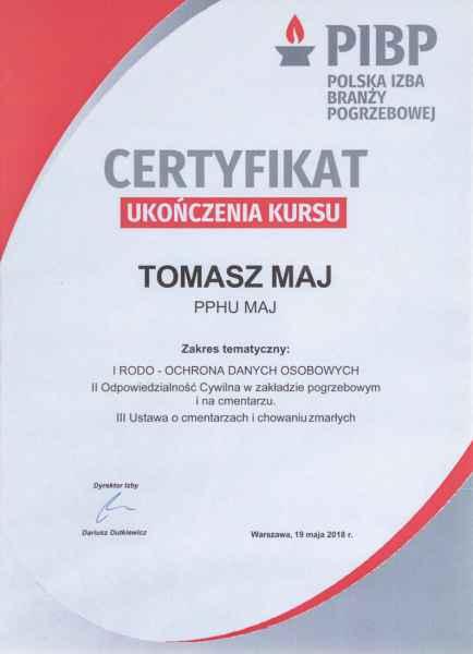 Certyfikaty Zakład pogrzebowy MAJ